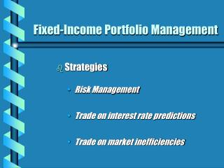 Fixed-Income Portfolio Management