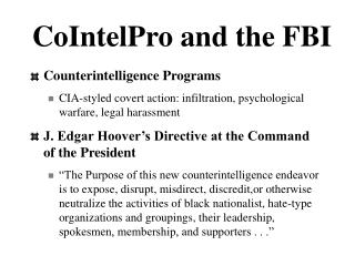 CoIntelPro and the FBI