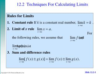 12.2 	Techniques For Calculating Limits