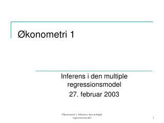 Økonometri 1