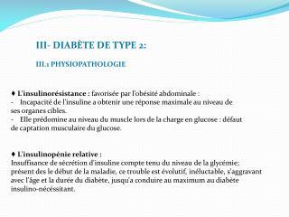 III-  DIABÈTE DE TYPE  2: