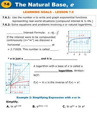 7.6.1:   Use the number  e  to write and graph exponential functions