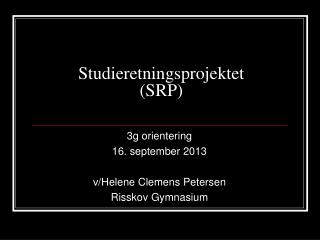 Studieretningsprojektet (SRP)