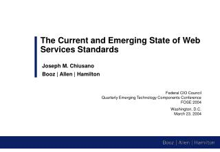 Federal CIO Council Quarterly Emerging Technology Components Conference FOSE 2004 Washington, D.C.