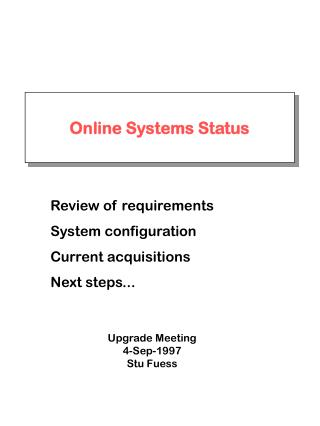 Online Systems Status