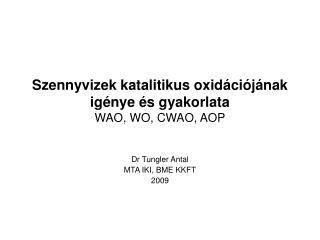 Szennyvizek katalitikus oxidációjának igénye és gyakorlata WAO, WO, CWAO, AOP