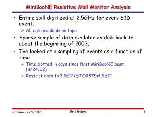 MiniBooNE Resistive Wall Monitor Analysis