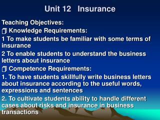 Unit 12   Insurance
