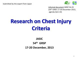 Research on Chest  Injury  Criteria