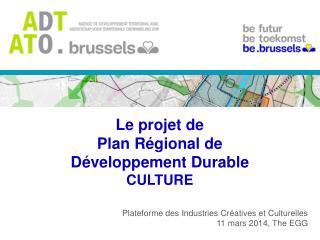 Le projet de Plan Régional de Développement Durable CULTURE