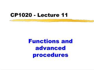 CP1020 - Lecture 11