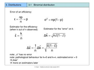 3. Distributions           3.1   Binomial distribution