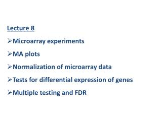 Lecture 8 Microarray experiments MA plots Normalization of microarray data