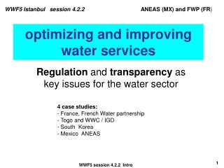 optimizing and improving water services
