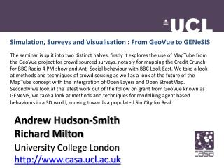 Simulation, Surveys and Visualisation : From  GeoVue  to  GENeSIS