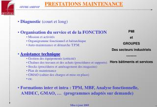 PRESTATIONS MAINTENANCE
