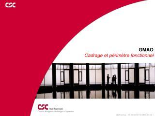GMAO Cadrage et périmètre fonctionnel