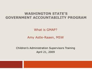 Washington State's Government Accountability Program