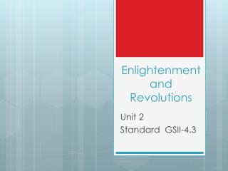 Enlightenment and Revolutions