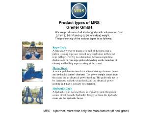 Product types of MRS Greifer GmbH