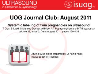 UOG Journal Club:  August  2011