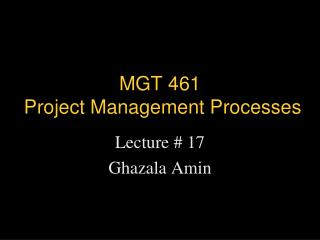 MGT 461   Project Management Processes