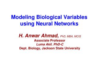 Modeling Biological Variables using Neural Networks