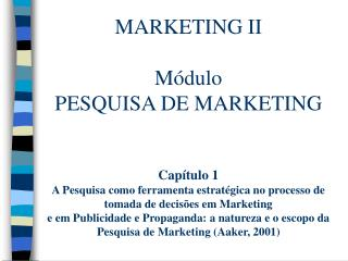 PESQUISA DE MARKETING Introdução