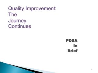 Quality Improvement: The  Journey  Continues