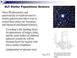 ELT Stellar Populations Science
