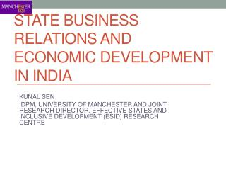 STATE BUSINESS RELATIONS AND ECONOMIC DEVELOPMENT IN INDIA