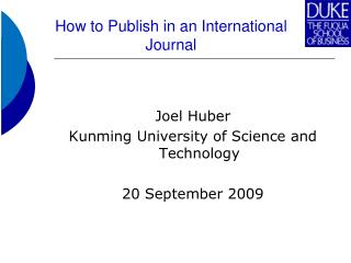 How to Publish in an International Journal