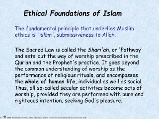 Ethical Foundations of Islam