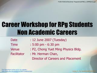 Career Workshop for RPg Students Non Academic Careers