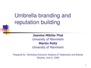 Umbrella branding and reputation building