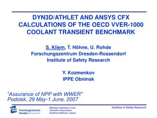 DYN3D/ATHLET AND ANSYS CFX CALCULATIONS OF THE OECD VVER-1000 COOLANT TRANSIENT BENCHMARK