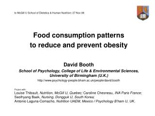 to McGill U School of Dietetics & Human Nutrition: 27 Nov 08 Food consumption patterns