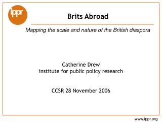 Catherine Drew institute for public policy research CCSR 28 November 2006