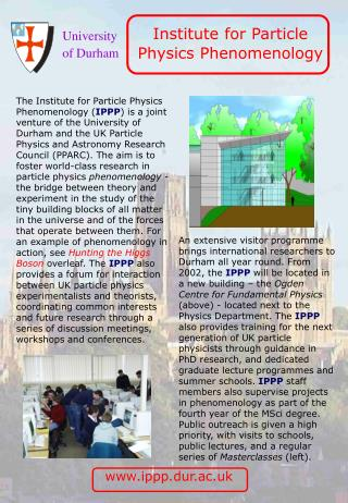 Institute for Particle  Physics Phenomenology