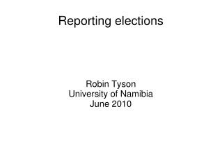 Reporting elections