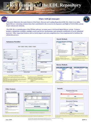 Key Features of the EDL Repository Adrian Tinio, Mike Gangl Jet Propulsion Laboratory