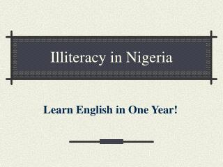 Illiteracy in Nigeria