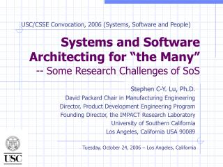 "Systems and Software Architecting for ""the Many"" -- Some Research Challenges of SoS"