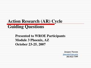 Action Research AR Cycle Guiding Questions