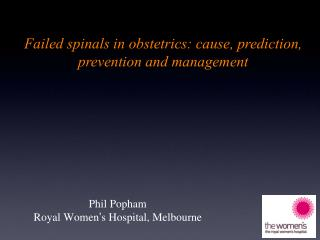 Phil Popham Royal Women ' s Hospital, Melbourne