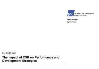 The Impact of CSR on Performance and Development Strategies