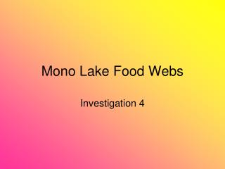 Mono Lake Food Webs