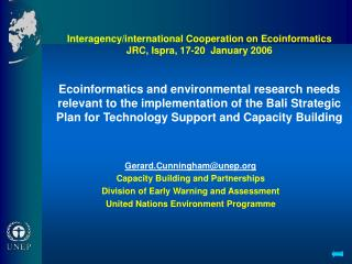 Gerard.Cunningham@unep Capacity Building and Partnerships