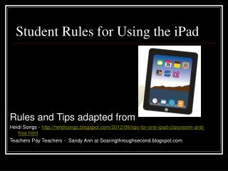 Student Rules for Using the iPad