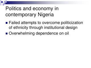 Politics and economy in contemporary Nigeria